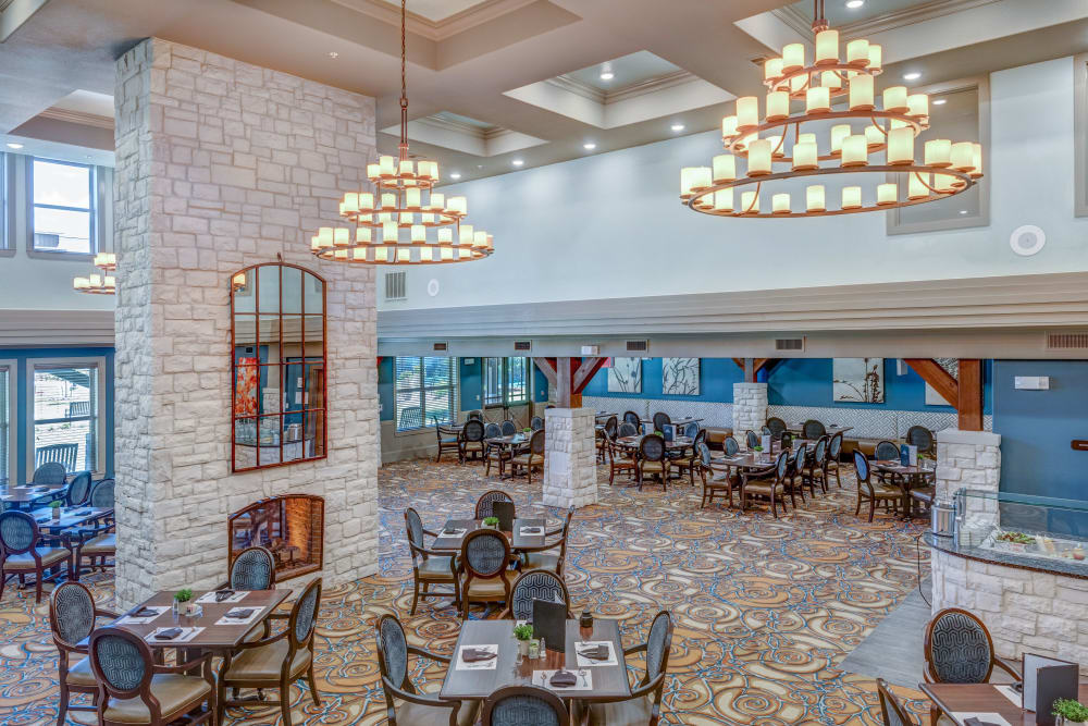 Beautiful chandeliers in a large banquet room at Watercrest at Katy in Katy, Texas