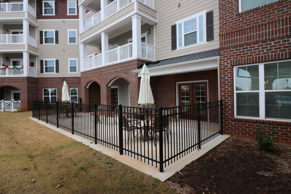 Covered outdoor seating at Harmony at Five Forks in Simpsonville, South Carolina