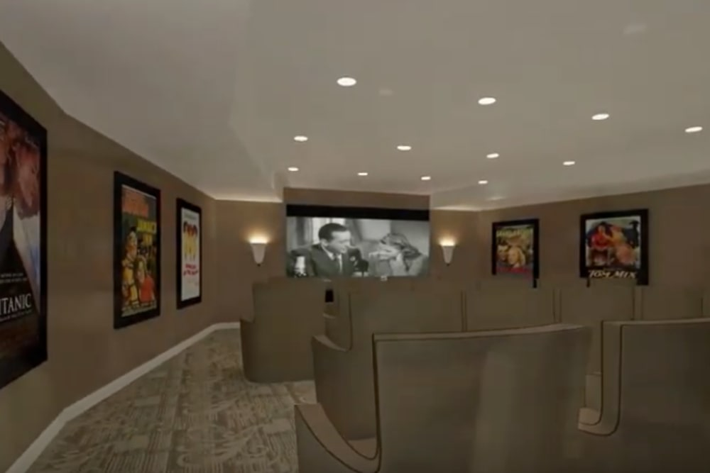 A rendering of the onsite movie theater at Harmony at Brentwood in Brentwood, Tennessee
