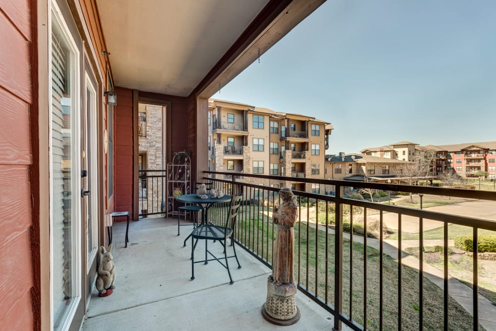 A balcony on one of the apartments at Watercrest at Bryan in Bryan, Texas