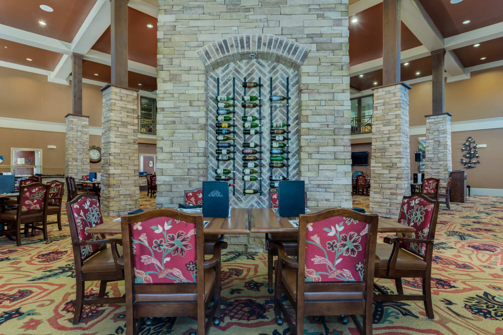 A beautiful dining table with fancy chairs at Watercrest at Bryan in Bryan, Texas