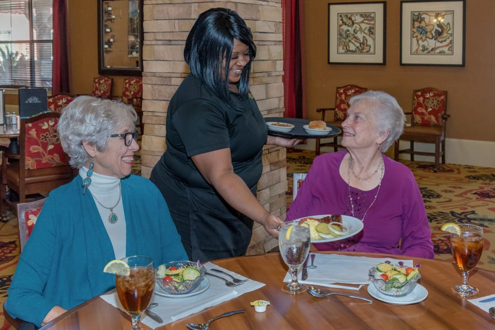 Two residents being served at Watercrest at Bryan in Bryan, Texas