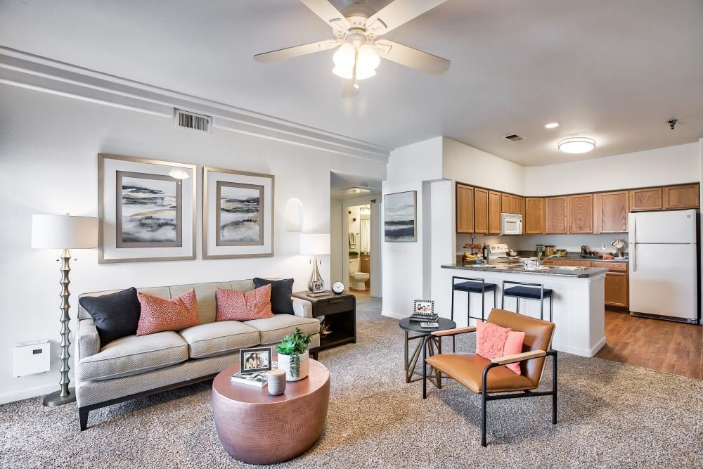 Beautiful Living Room at Vistas at Stony Creek Apartments in Littleton, Colorado
