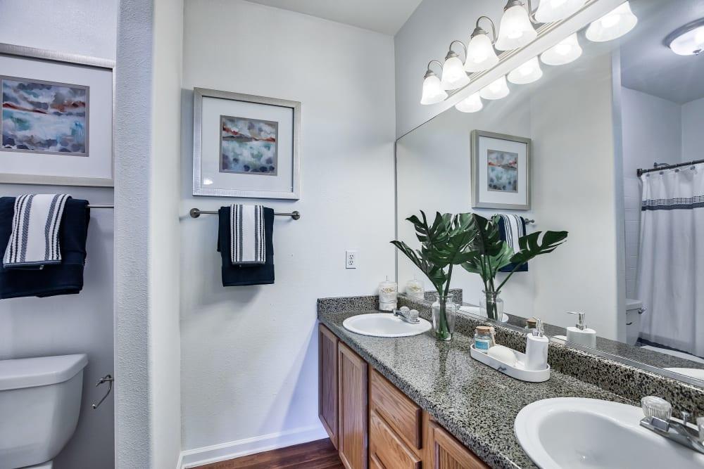 Bathroom at Vistas at Stony Creek Apartments in Littleton, Colorado