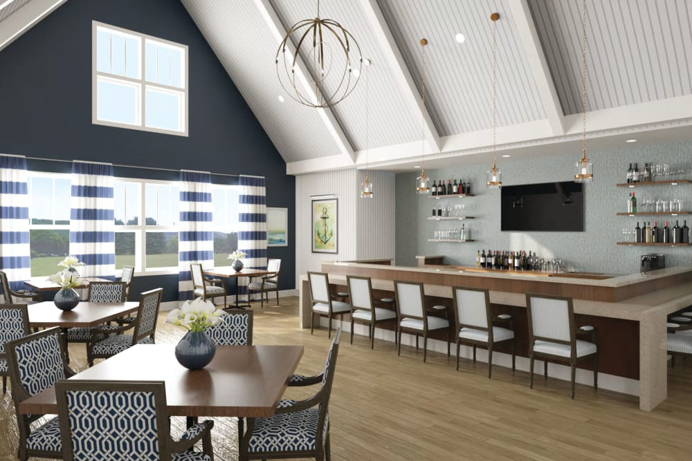 Community clubhouse with a bar at Anthology of Simsbury in Simsbury, Connecticut