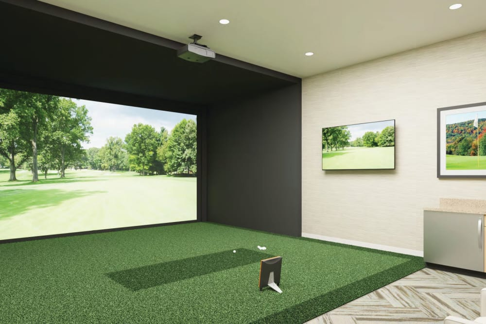 Golf simulator at Anthology of Simsbury in Simsbury, Connecticut
