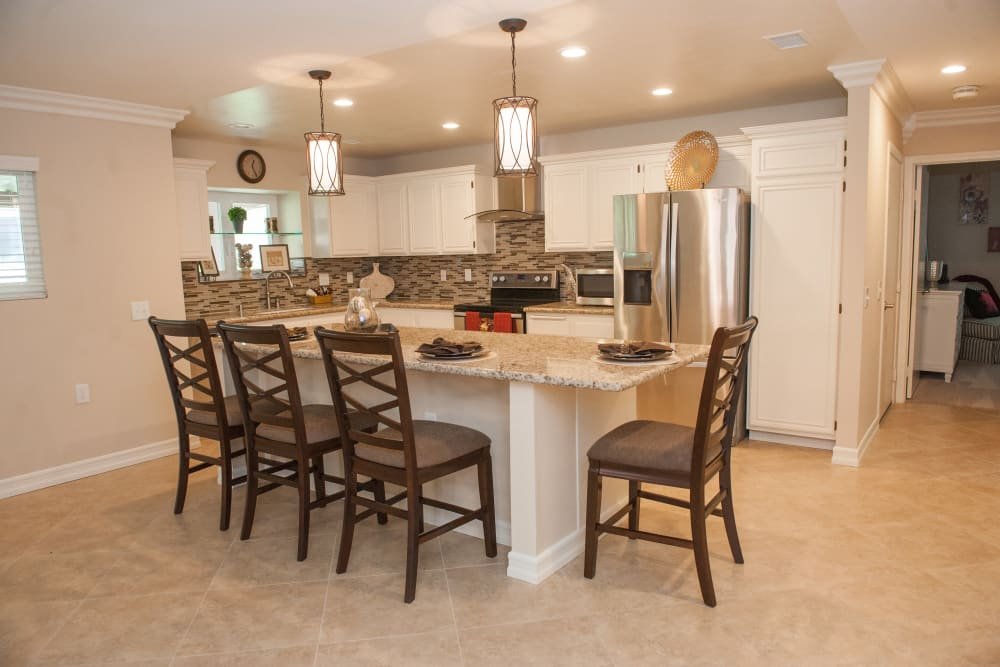 Dining room model at Westmont Village in Riverside, California