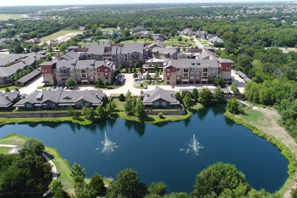 An areal view of the property of Watercrest at Mansfield in Mansfield, Texas
