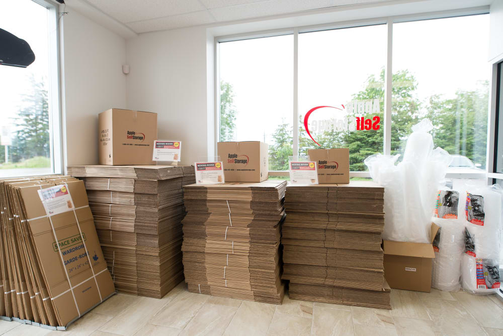 Boxes are sold at Apple Self Storage - Kitchener - Highland in Kitchener, Ontario