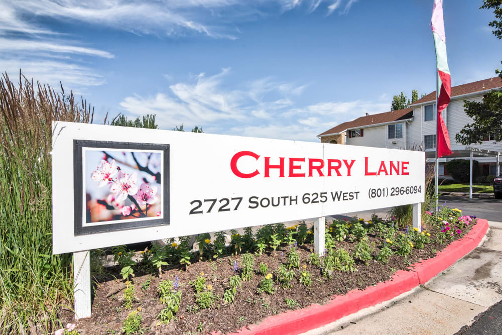 Entry Sign at Cherry Lane Apartment Homes in Bountiful, Utah