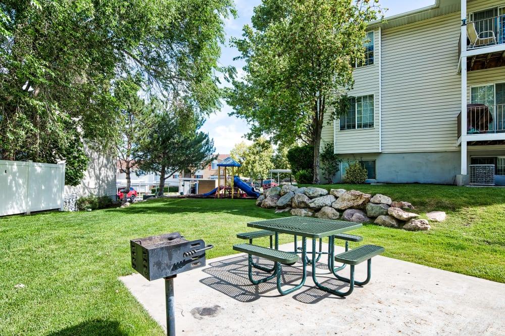 BBQ Area at Cherry Lane Apartment Homes in Bountiful, Utah