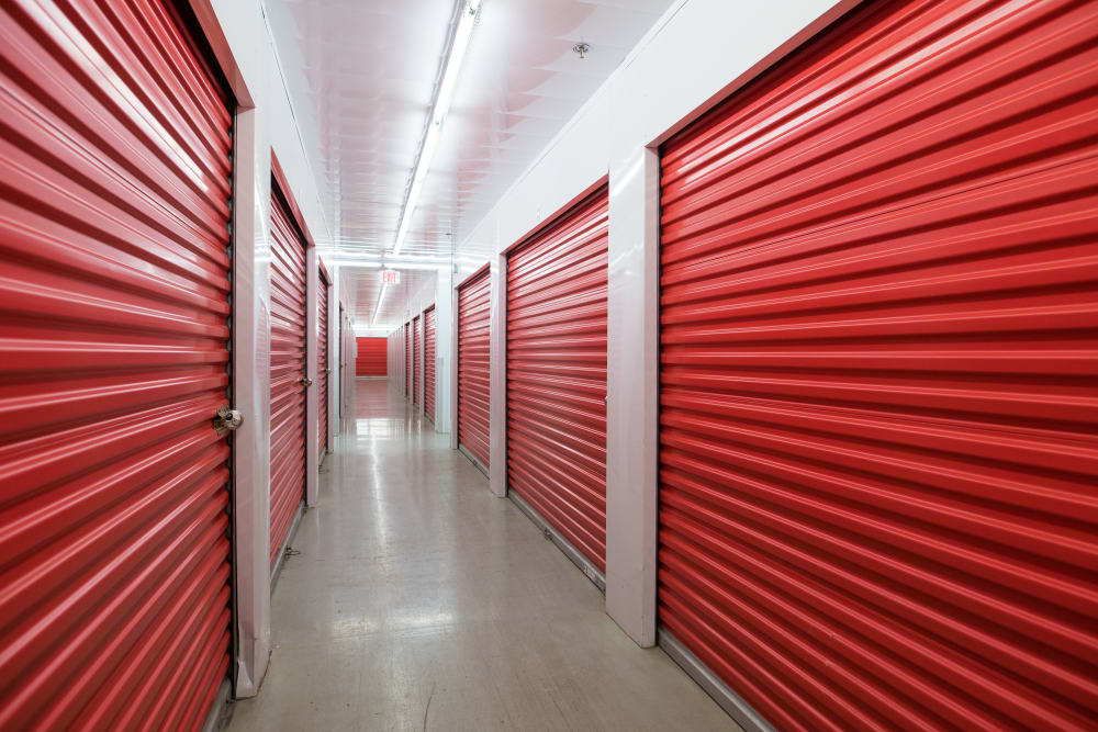 Interior storage units at Apple Self Storage - Newmarket in Newmarket, Ontario