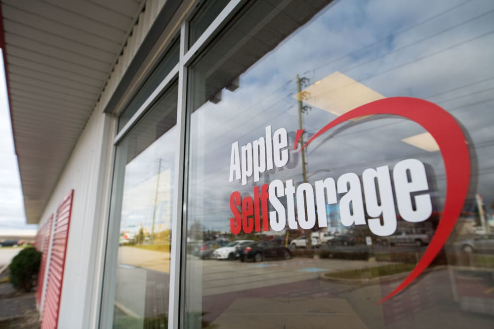 Logo on front entrance of Apple Self Storage - Newmarket in Newmarket, Ontario