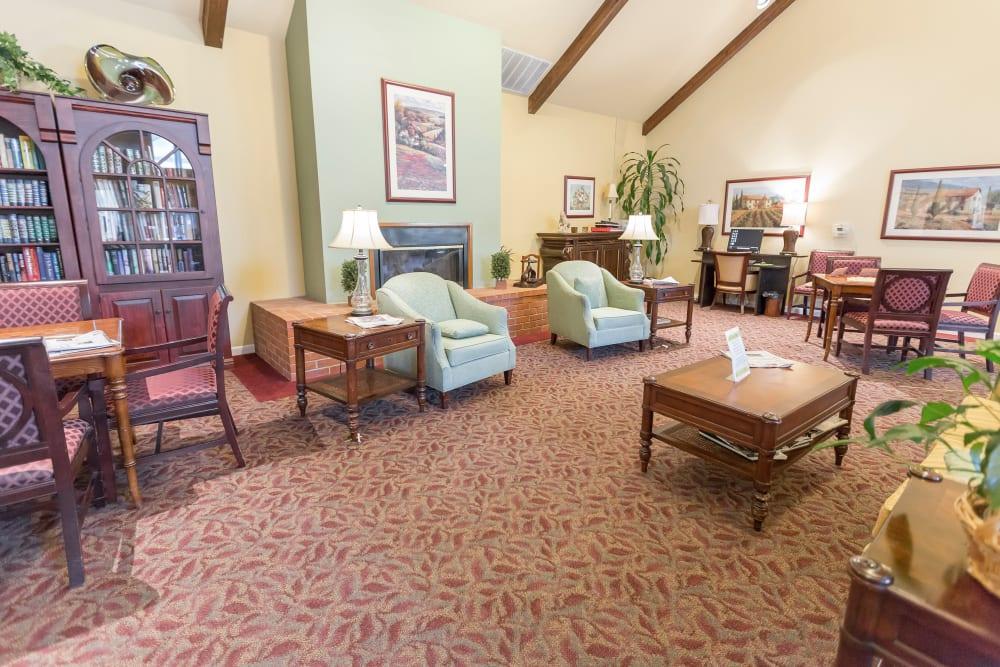 Community area for residents at Blossom Vale Senior Living in Orangevale, California