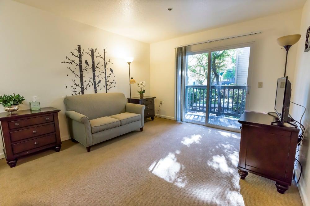 Living room model at Blossom Vale Senior Living in Orangevale, California