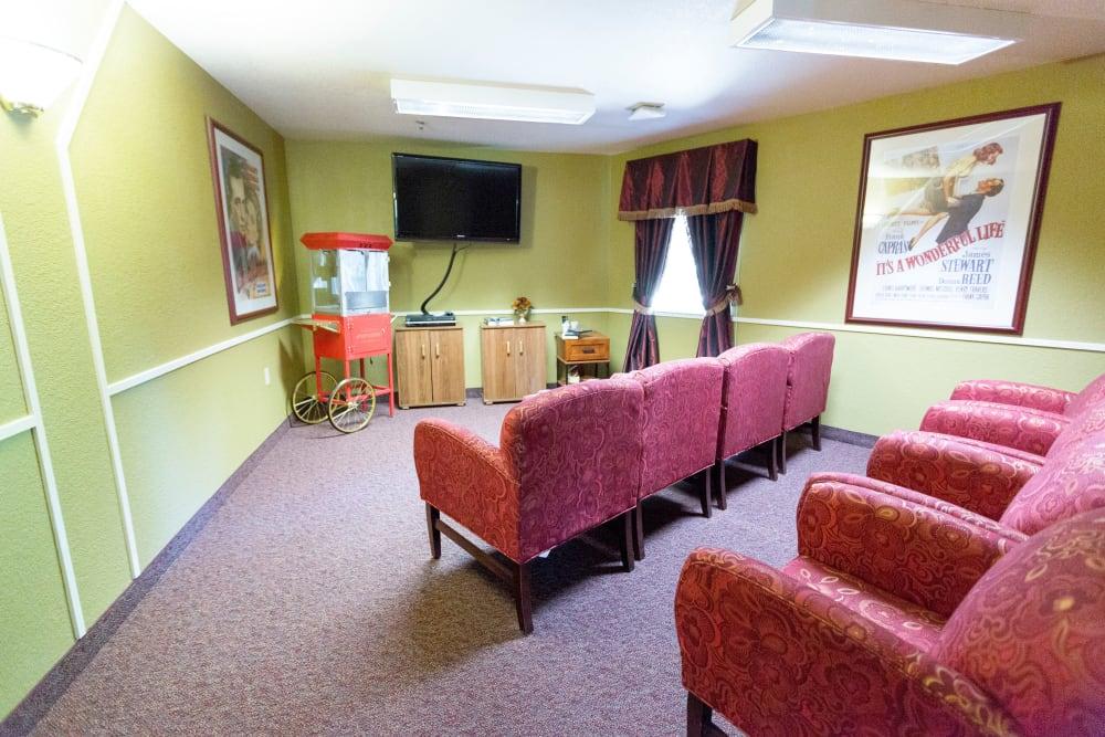 Cinema room at Blossom Vale Senior Living in Orangevale, California