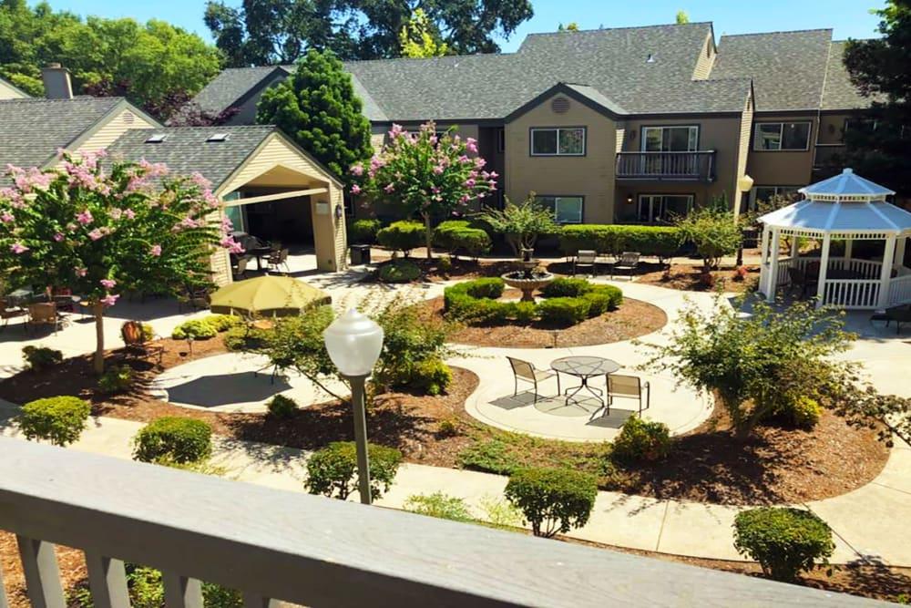 Outdoor patio area at Blossom Vale Senior Living in Orangevale, California
