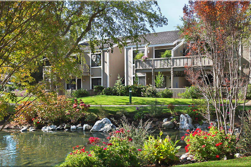 Exterior of Glenbrook Apartments on a sunny day in Cupertino, California