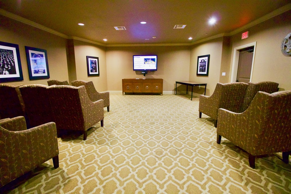 A theater room at Isle at Watercrest Mansfield in Mansfield, Texas