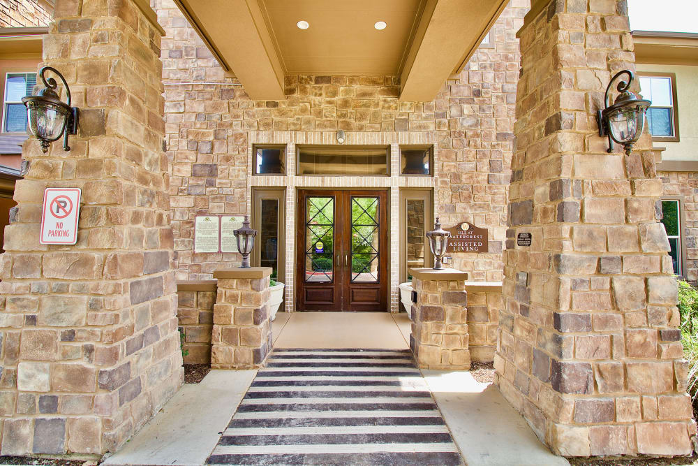 The front door to Isle at Watercrest Mansfield in Mansfield, Texas