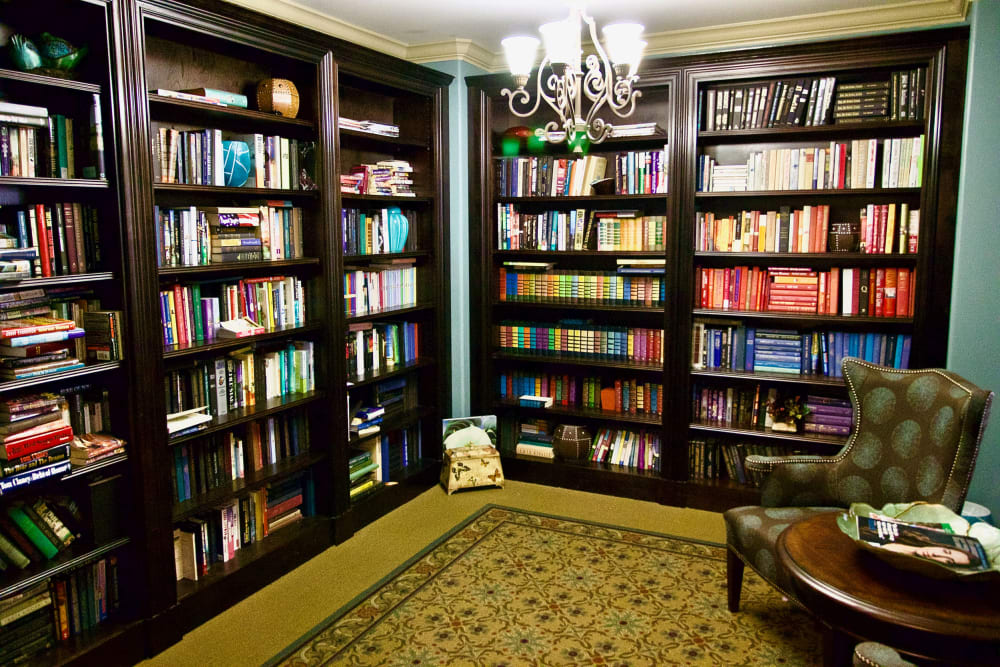 A library at Isle at Watercrest Mansfield in Mansfield, Texas