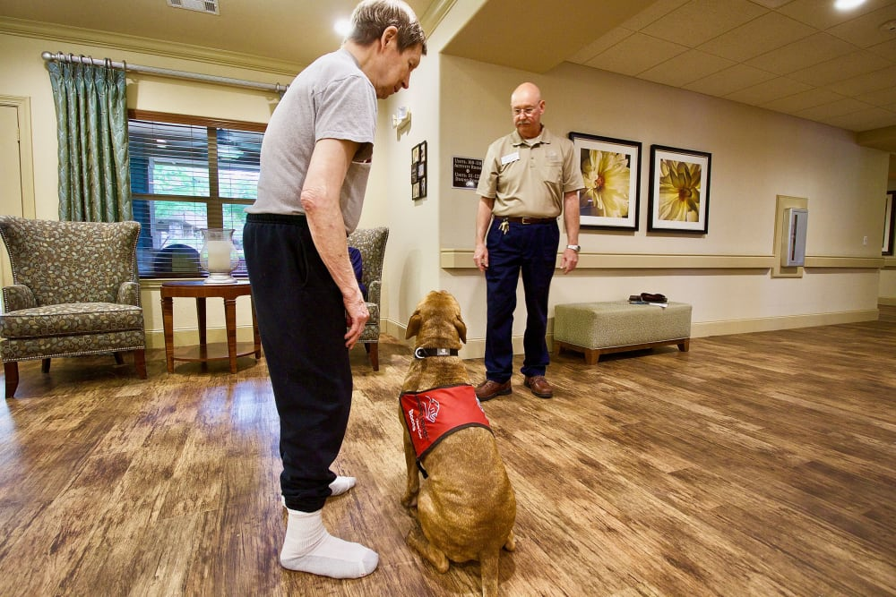 A resident with their dog at Isle at Watercrest Mansfield in Mansfield, Texas