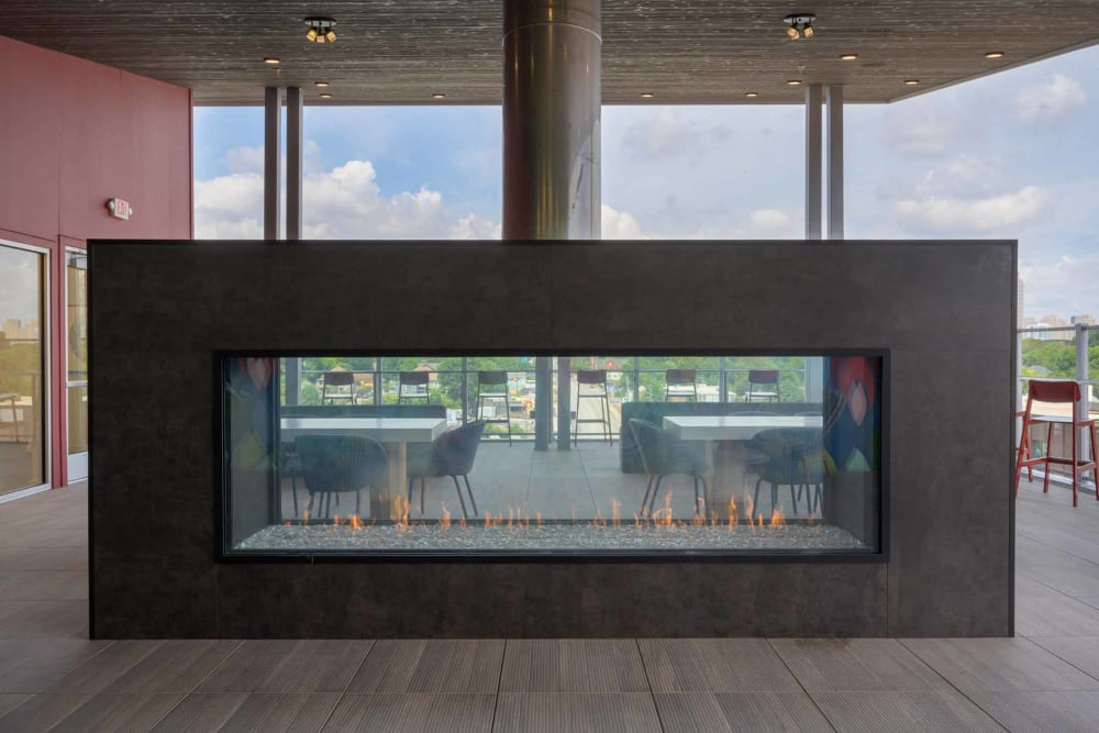 Modern fireplace at Alta Dairies