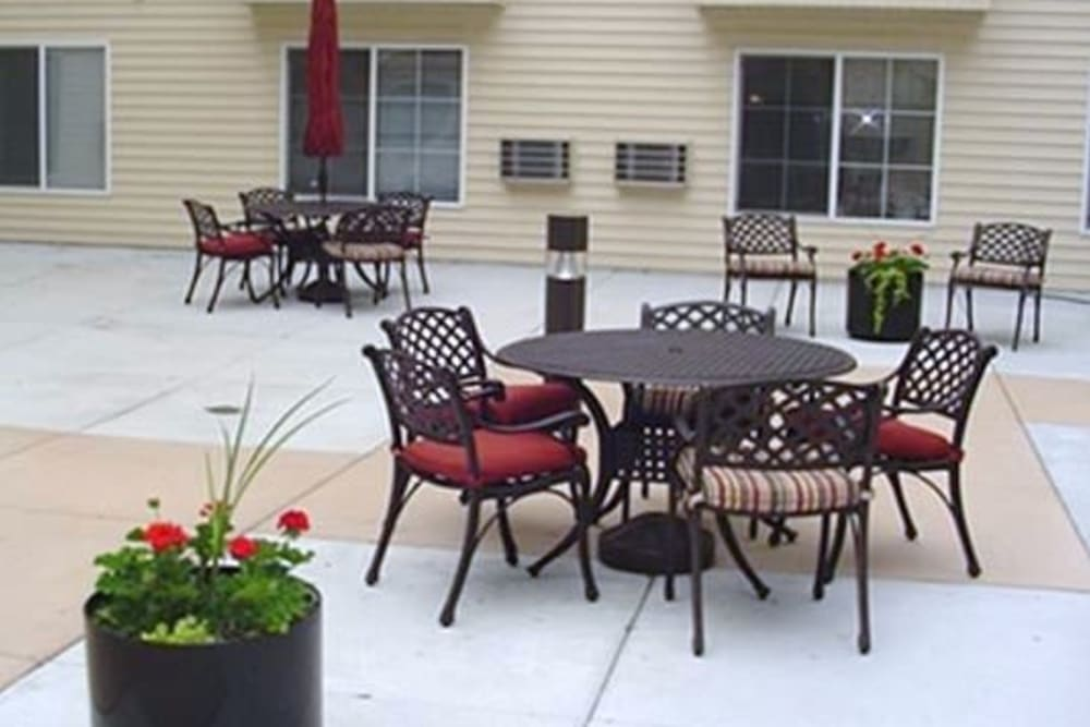 Spacious outdoor patio at Parkway Gardens Senior Apartment Community in Saint Paul, Minnesota