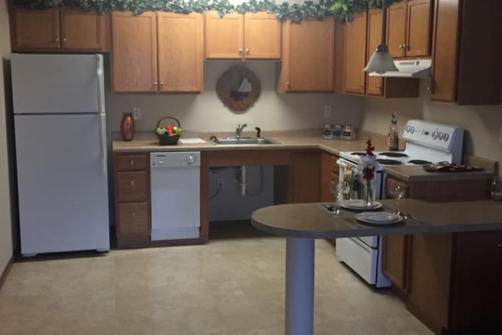 Kitchen with plenty of counter space at Parkway Gardens Senior Apartment Community in Saint Paul, Minnesota