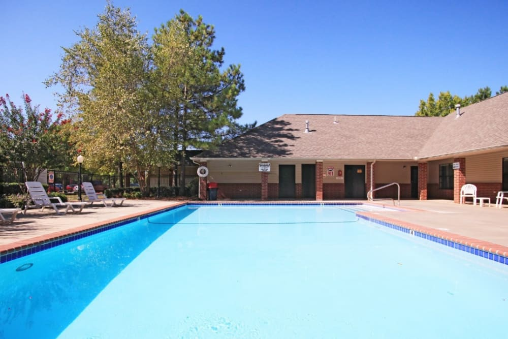 Sparkling pool on a sunny day at Chapel Ridge in Norman, Oklahoma