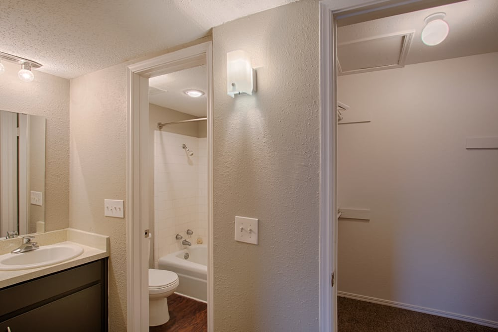 Bathroom and closet at The Chantelle in Norman, Oklahoma