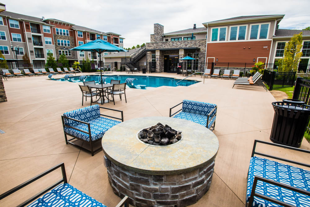 Pool with a firepit at Altitude 970 in Kansas City, Missouri.