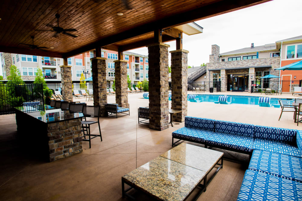 Large resident covered patio at Altitude 970 in Kansas City, Missouri.