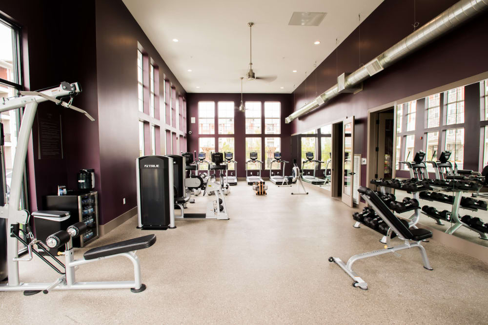 Large fitness center with a variety of equipment at Altitude 970 in Kansas City, Missouri.