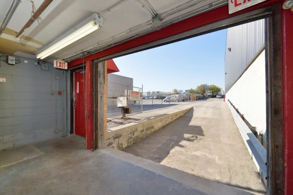 Large loading door at Centron Self Storage in North York, Ontario