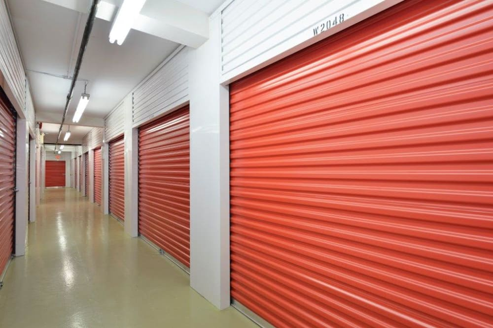 Inside storage units at Centron Self Storage in North York, Ontario