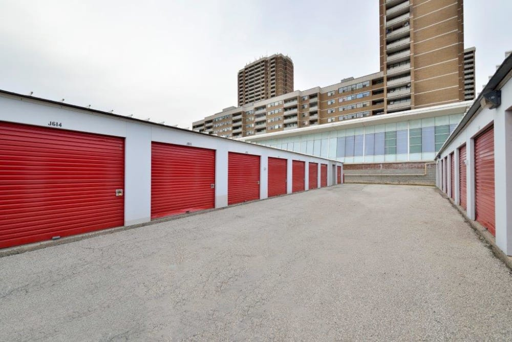 Outside storage units at Apple Self Storage - Toronto - Danforth in Toronto, Ontario