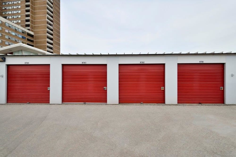 Exterior storage units available at Apple Self Storage - Toronto - Danforth in Toronto, Ontario