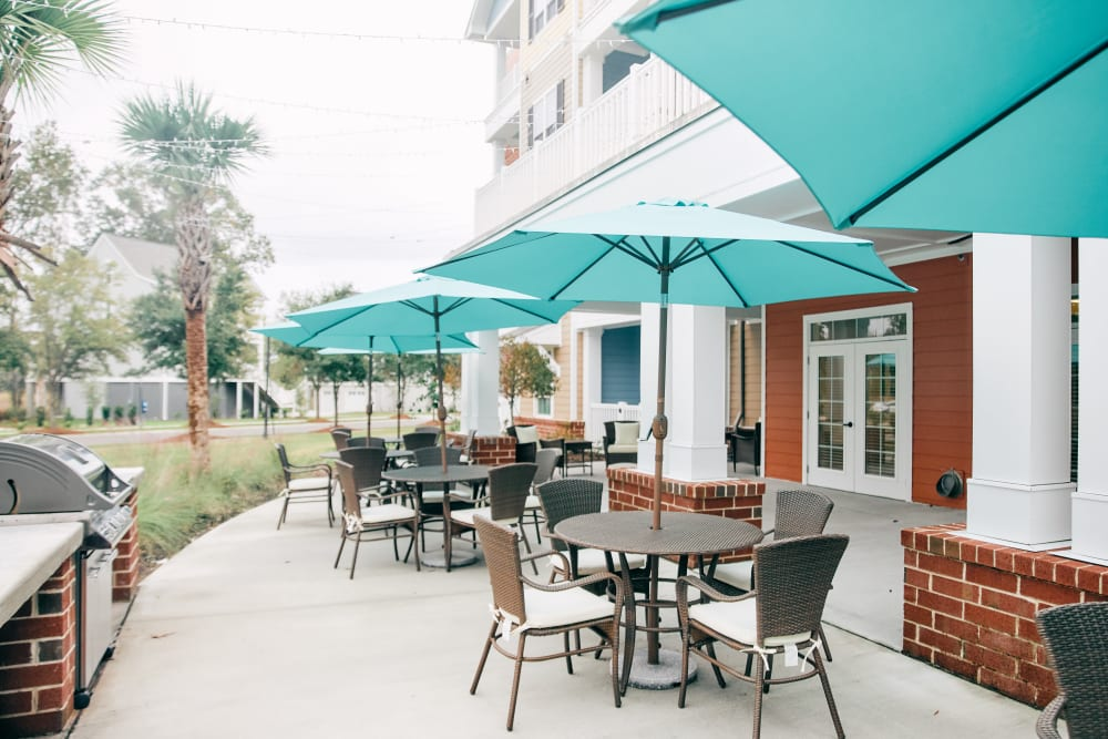 Covered outdoor seating at Harmony at West Ashley in Charleston, South Carolina