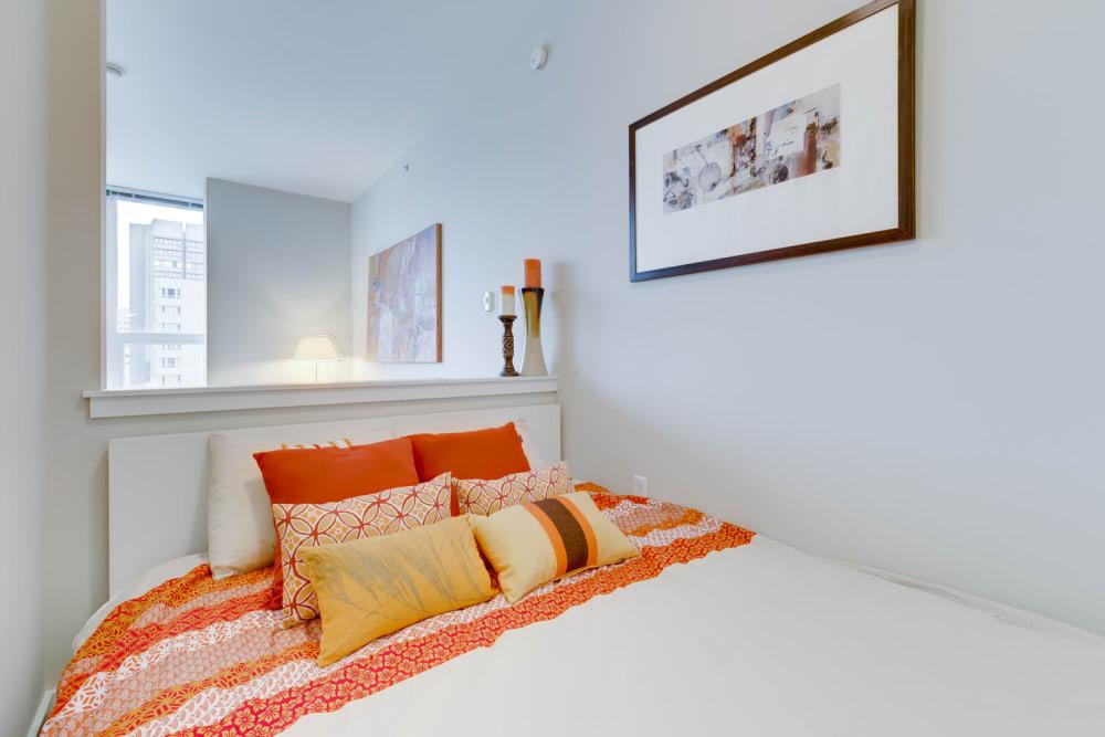 Elegant bedroom in model unit at M Street in Seattle, Washington