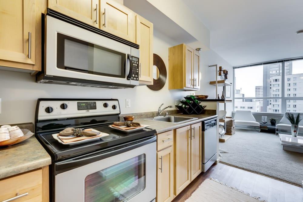 Modern kitchen in model unit at M Street in Seattle, Washington