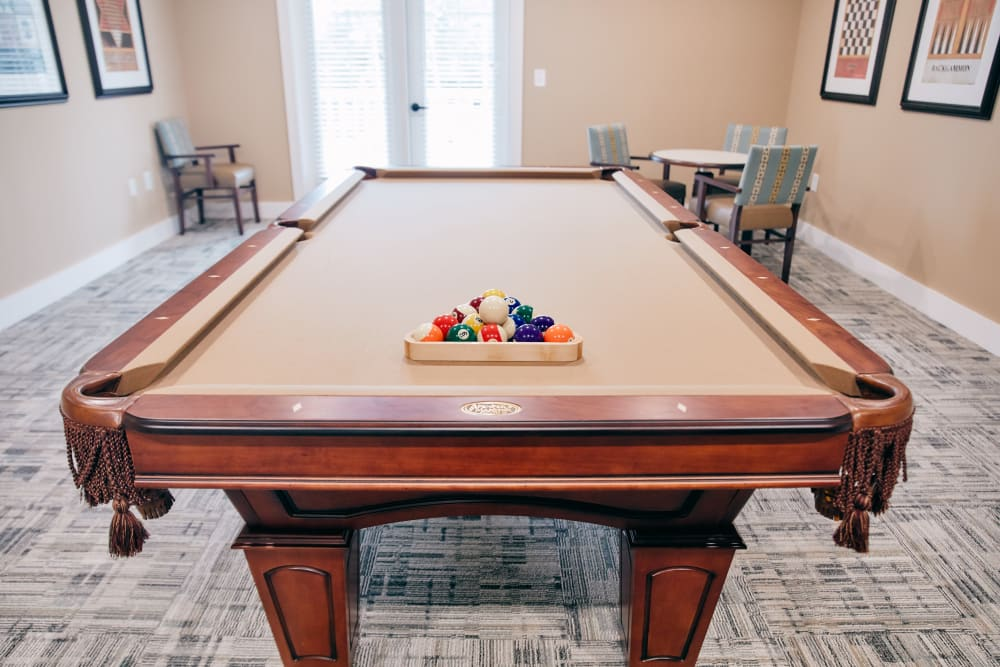 A billiards table in the activity room at Harmony at West Ashley in Charleston, South Carolina