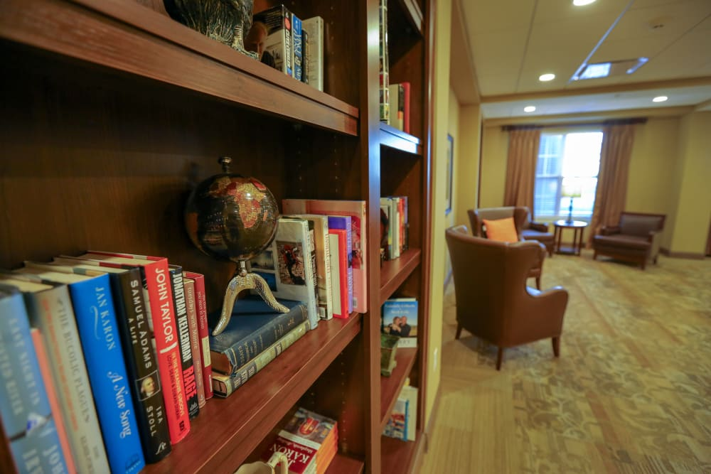 A reading corner at Harmony at West Shore in Mechanicsburg, Pennsylvania