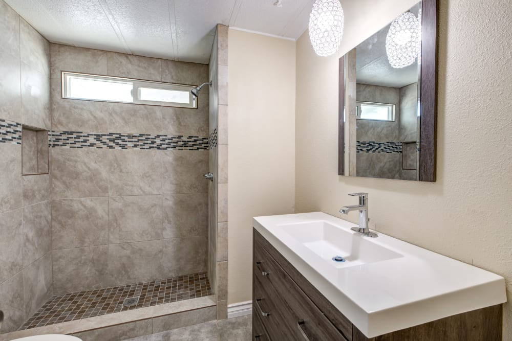 Master bathroom in model home at Old Plantation in Riverside, California