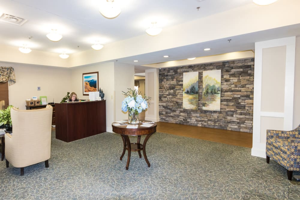 The reception desk at The Harmony Collection at Columbia - Independent Living in Columbia, South Carolina