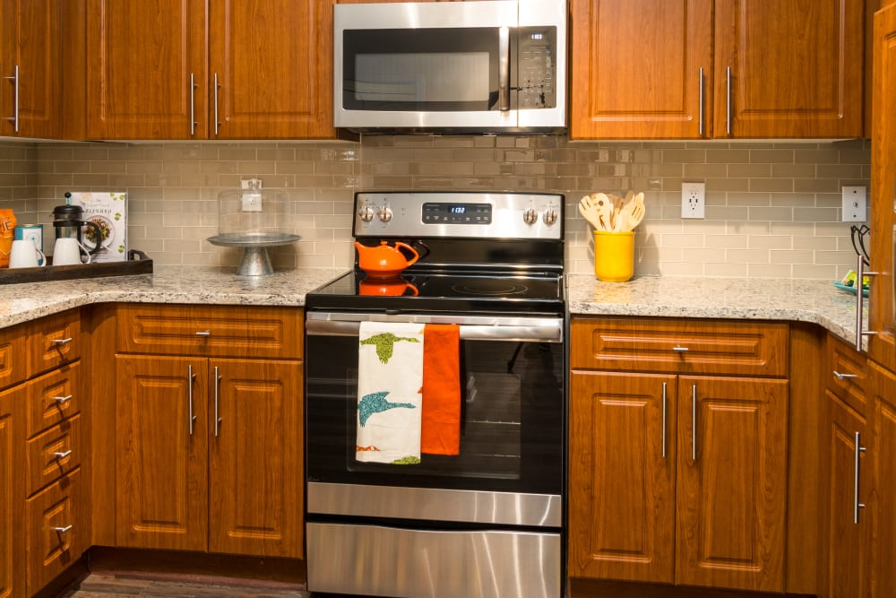 Resident kitchen at City View in Atlanta, Georgia.