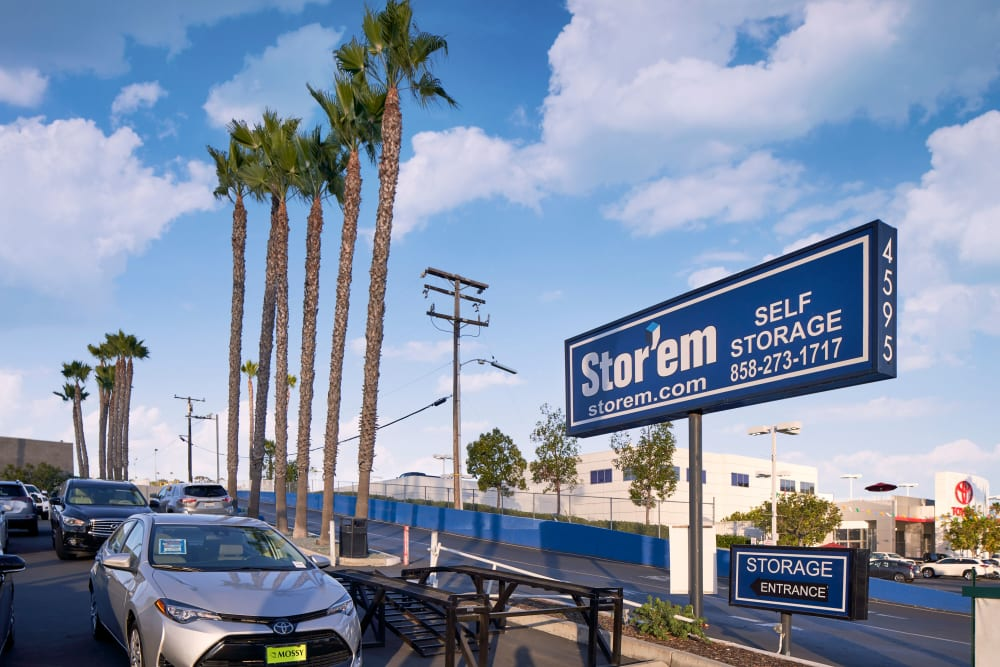 Sign outside of Stor'em Self Storage in San Diego, California
