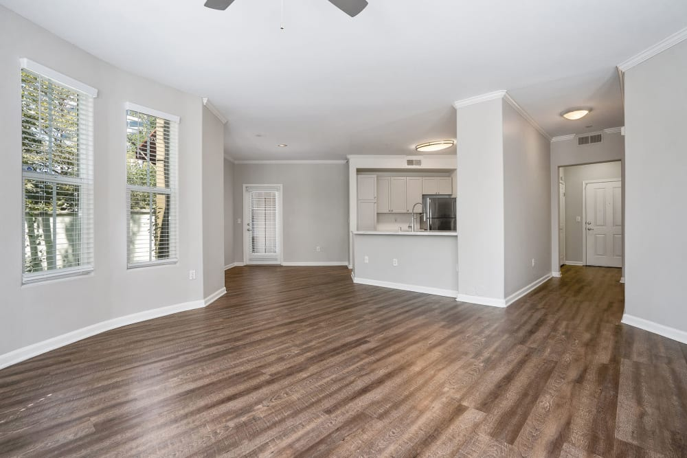 Living room with hardwood flooring at Park Central in Concord, California