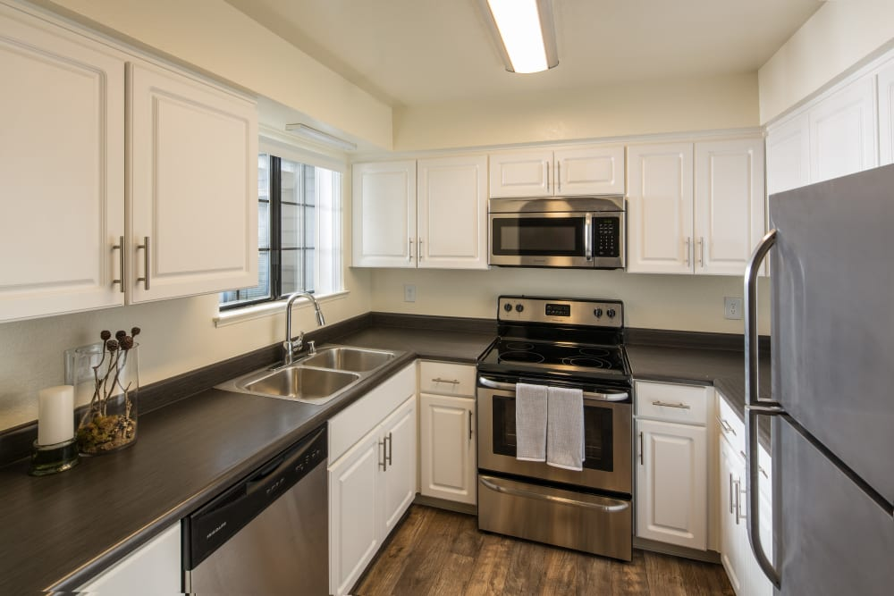 Stainless steel appliances at Shore Park at Riverlake in Sacramento, California