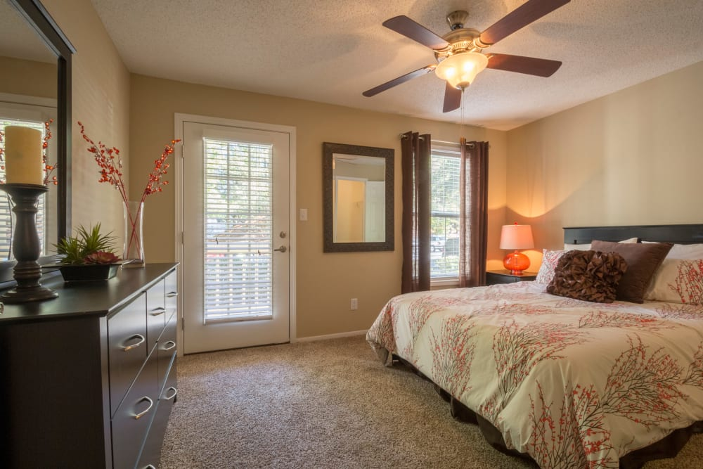 Bedroom with patio access at Summerchase at Riverchase in Hoover, Alabama